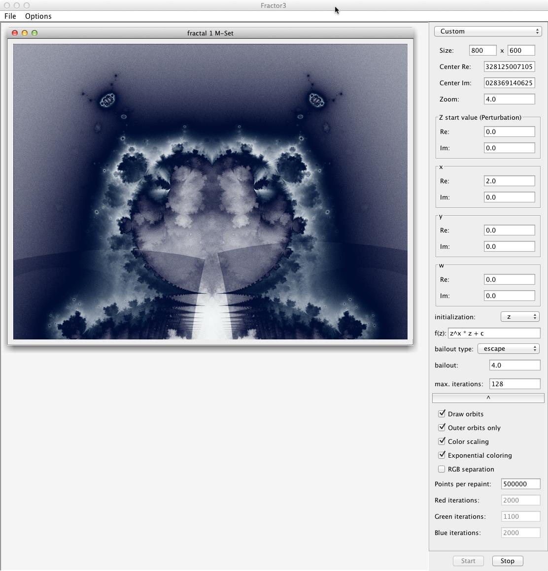 Benutzeroberfläche von Fractor3