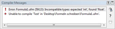 Fehlermeldung des Compilers bei falschem Datentyp