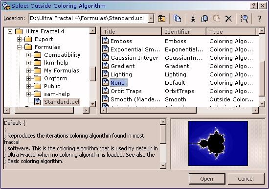 Auswählen des neuen Kolorierungs-Algorithmus im Browserfenster