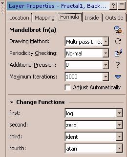 Veränderte Fraktalformel im Reiter: Formula