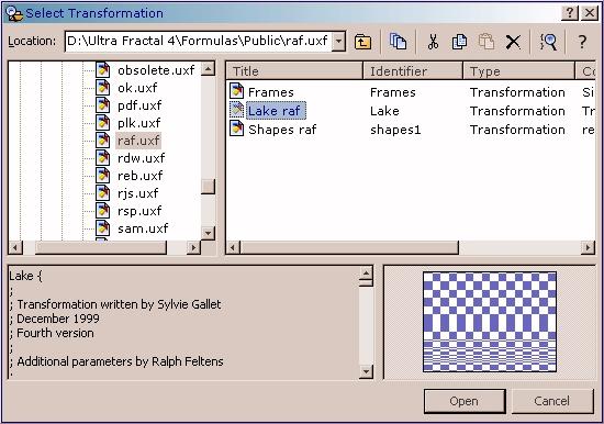 Auswählen der neuen Transformation im Browserfenster