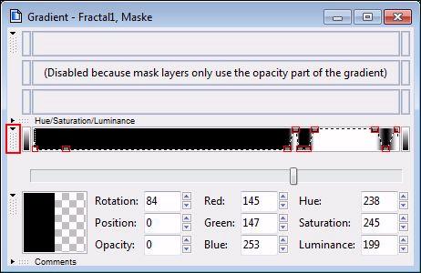 Der Farbverlauf der Maske im Editorfenster