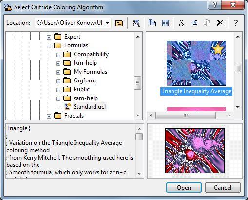 Auswählen des Kolorierungs-Algorithmus im Browserfenster