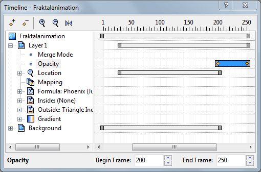 Bearbeiten der Zeitlinie für den Parameter: Opacity